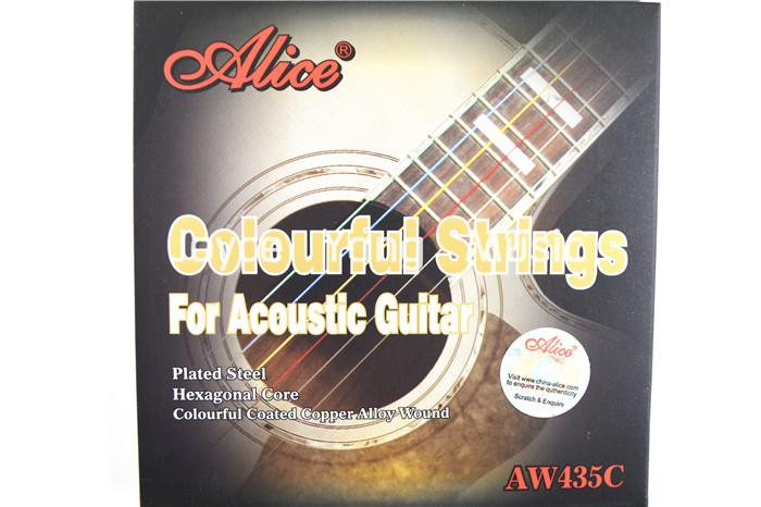 Alice AW435C Colourful Acoustic Guitar Strings 1st-6th Strings Golden-Plated Ball-End Free Shipping