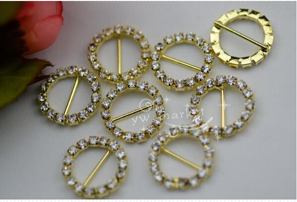 Hot Sale Wedding Supply 21mm Round Rhinestone Slider Buckles For Rhinestone Napkin Rings Weddings invitations Card