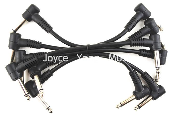 6 Pack Electric Guitar Cables 6 '' 1/4 Right Angle Effect Pedal Patch Cord Fri frakt
