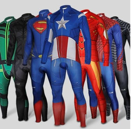 Wholesale Green Lycra Pants - Free Shipping Superhero Black Spiderman Green Arrow Captain Superman long Sleeve Bike Cycling Jersey Pants Set