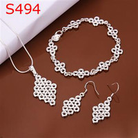 5 set lot new necklace bangle earing set chinese knot 925 sterling silver s494 fashion
