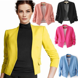 Wholesale Women Short Wool Jacket - NEW fashion High quality 5color blazer women Jackets one button ladies blazer suit cardigan Coat 583