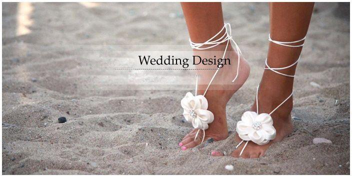 Beautiful 3 Styles Handmade Lace Yarn Flower Bridal Barefoot Beach Wedding Sandals Beach  Wedding Shoes Foot Jewellery Beach Beach Holiday Necessity 2018 From ...