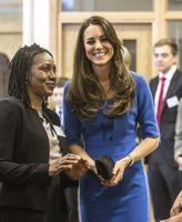 mismo kate middleton vestidos al por mayor-Nueva princesa Kate Middleton mismo estilo nueva primavera mujer delgada media manga de alta calidad azul de una sola pieza vestido de trabajo de noche envío gratis