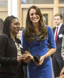 Vente en gros Nouveau Princesse Kate Middleton Même Style Nouveau Printemps Femmes Mince Demi Manches Haute Qualité Bleu Une Pièce de Travail Robe Soirée Livraison Gratuite
