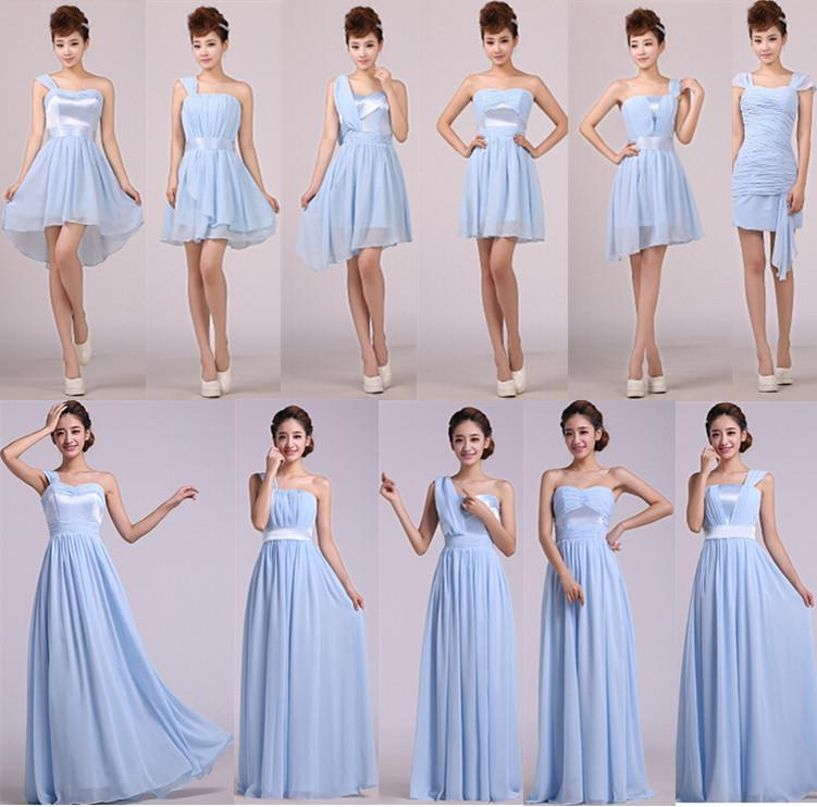Custom design light blue formal dress bridesmaid dresses for Blue beach wedding dresses