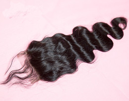 Wholesale Hair Stock - big sale Brazilian Virgin Body Wave Human Hair Cheap 4x4 Top Lace Closures Pieces With Bleached Knots Free Middle three Part Stock