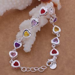 Wholesale Bracelet Austria Crystal - Gorgeous best Quality Charm 925 sterling silver women fashion Heart style Austria Crystal Bracelet jewelry factory price AB114