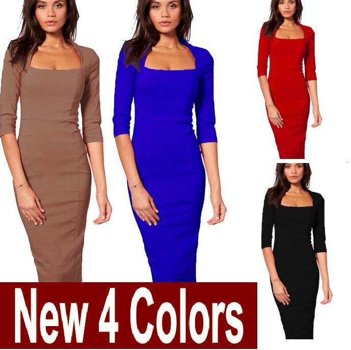 Womens classic Square Neck 3/4 Sleeve back Zipper Black Red Blue Khaki Elegant Formal Tunic Bodycon Slim Fit Pencil Dress free shipping