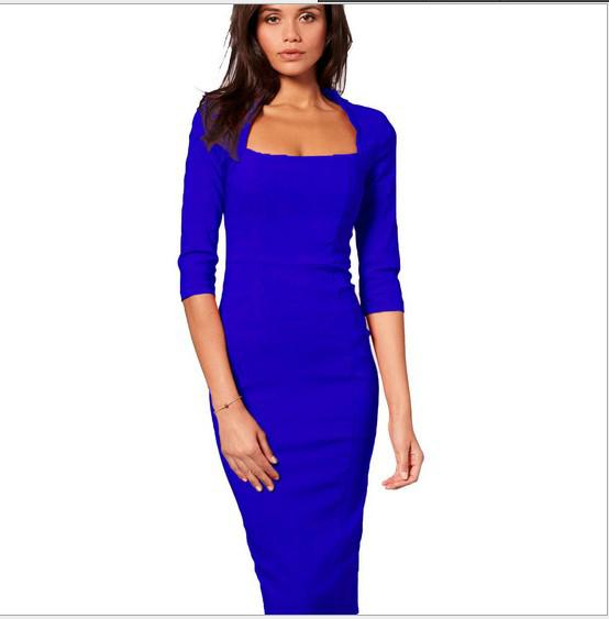 Womens classic Square Neck 3/4 Sleeve back Zipper Black Red Blue Khaki Elegant Formal Tunic Bodycon Slim Fit Pencil Dress