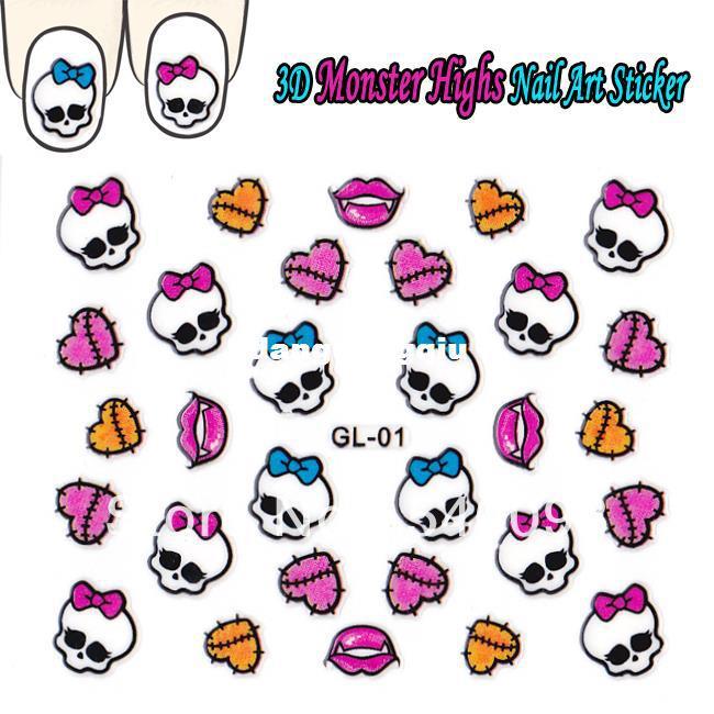 Wholesale 3d Nail Sticker Monster High Diy Nails Decals Skull Design