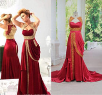 Wholesale Real Sample Celebrity Dress - Free Shipping 2014 hot red gold appliques evening dresses Arabic India style beaded ruffles celebrity prom gowns free shipping real sample