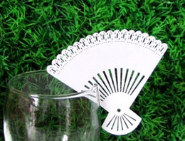 Wholesale Wholesale Cheap Cut Glasses - laser cut Fan style Cheap Wedding Decoration Wine Glass Place Cards Free shipping