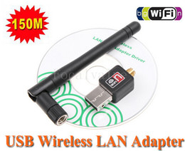 Wholesale Software Driver Wholesale - 100% Original Mini 150M 150MBPS USB Wifi Wireless Network Card 802.11 n g b LAN Adapter + Antenna Computer + Software Driver RT5370