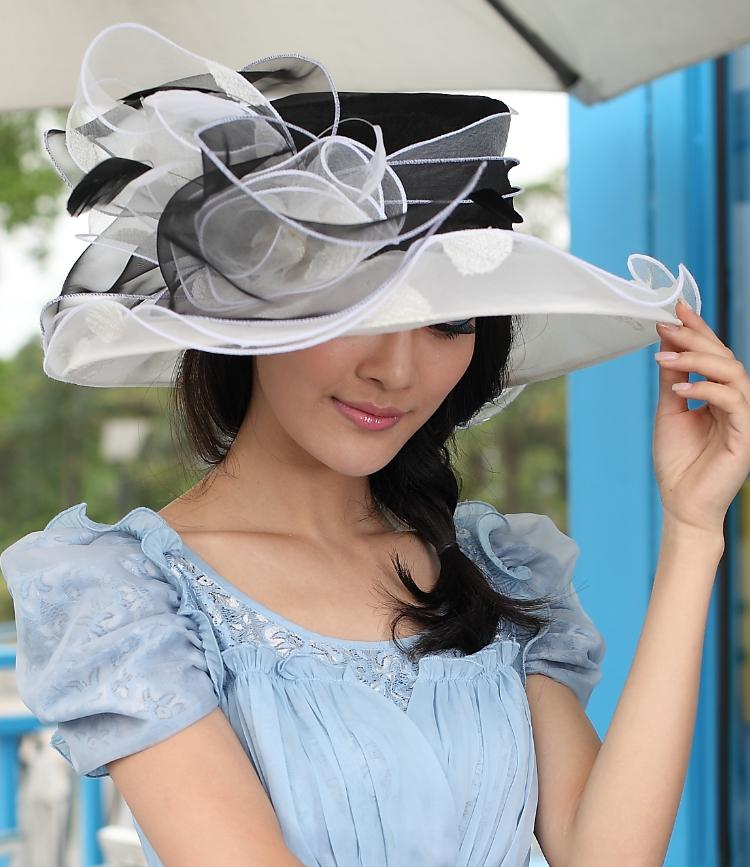 2948e4ec7e7 Women Organza Hat Winter Dress Wedding Hat Organza Flower Organza Dress Wide  Brim Floppy Ruffle Wave Brim Three Colors Available Hot Sale Beach Hat  Church ...