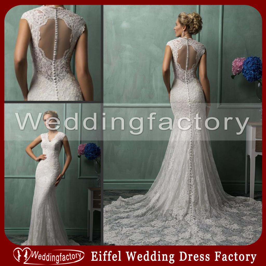 Elegant Gypsy Wedding Dress Mermaid V Neck Illusion Keyhole Back ...