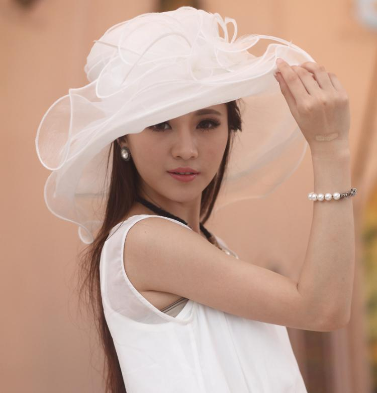 78a8fc98f42 Women Hat Organza Hat Silk Organza Fabric 100% Organza Family Hat With  Flower Wide Brim Floppy Ruffle Wave Brim For Adult And Child Choice Flat Brim  Hats ...