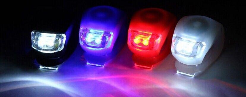 LED Flash Silicone Vélo Vélo Vélo Tête Avant Roue Arrière Lumière Lampe /