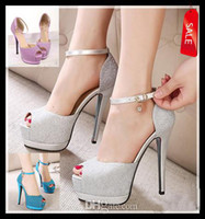 Wholesale Low Price Silver Heels - Lowest Price Elegant glitter silver wedding shoes stiletto heel platform pumps women sexy high heel dress shoes pink blue