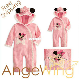 Wholesale Minnie Mouse Rompers - Wholesale-New Arrival Baby Girl's 2013 Autumn One Piece Cotton Rompers Cartoon Minnie Mouse Polka Dot Jumpsuit Free Shipping