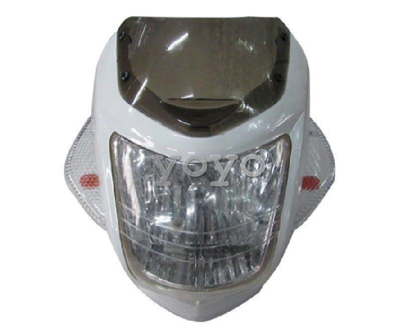 white Motorcycle Fairing Headlight + Turn Signal Indicators Dash Sport Universal