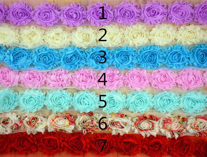 Reine Chiffon Blume 2,5 Zoll schäbig Baby Kopf Blume Zubehör Bekleidung Zubehör 1 Yard = -