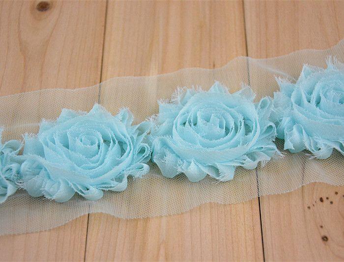 Puro fiore chiffon 2.5inch shabby Baby Head accessori fiore Accessori di abbigliamento 1 yard = -