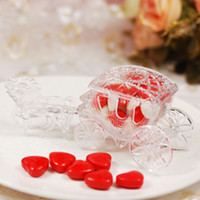 Wholesale gold wedding carriage resale online - 50pcs Acrylic Carriage Clear Candy Boxes Sweet Love Wedding Gift Jewelry Box Color Gold Silver