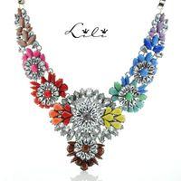 Wholesale chunky flower necklaces - 2014 Fashion Brand Shourouk Flower Statement Luxury Big Necklaces & Pendants Chunky Sweater Colar Chain Steampunk Bijoux Jewelry