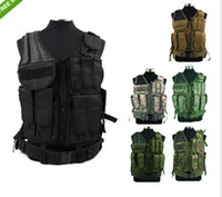 Wholesale Military Tactical Assault Vest - assault tactical combat vest (pistol pouch + mag pouch+litter pouch Military Mesh Designed with Holster Pouch Vest Airsoft Molle De