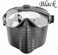 PVC paintball anti fog mask - Anti Fog tactical Electric Ventilated Full Face Fan Ventilation Mask Pro Goggles Clear Lens for Airsoft Paintball Survival War BK