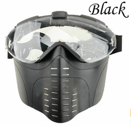 Wholesale War Fan - Anti-Fog tactical Electric Ventilated Full Face Fan Ventilation Mask Pro Goggles Clear Lens for Airsoft Paintball Survival War BK