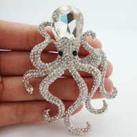 Wholesale-Classic ornate octopus white crystal rhinestones rose gold-plated pendant brooch pins Very beautiful unique girl