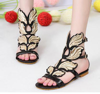 Wholesale Sexy Black Shoes Sandals - 2014 New roman gladiator sandals gold leaves designer shoes sexy women flat sandals white black plus size EU 40 41 ePacket Free Shipping