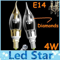 Wholesale Diamond Candles - 2015 Hot Sales 4W Led E14 Candle Lights With Heart of Diamond High Brightness Cool Warm White AC 220-240V Led Spotlights CE ROHS