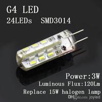 Wholesale G4 Led 12 Warm White - Free Shipping G4 3W SMD3014 24LEDs 12 volt led lights 360deg Lamp Spotlight