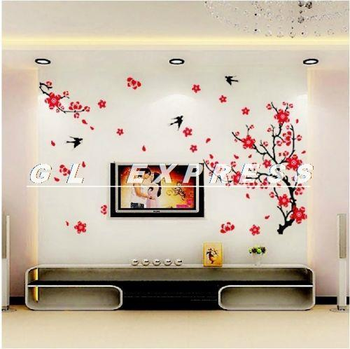 Flor de ciruelo grande árbol de flores y golondrina pájaros pegatinas de pared decoración de tatuajes de arte