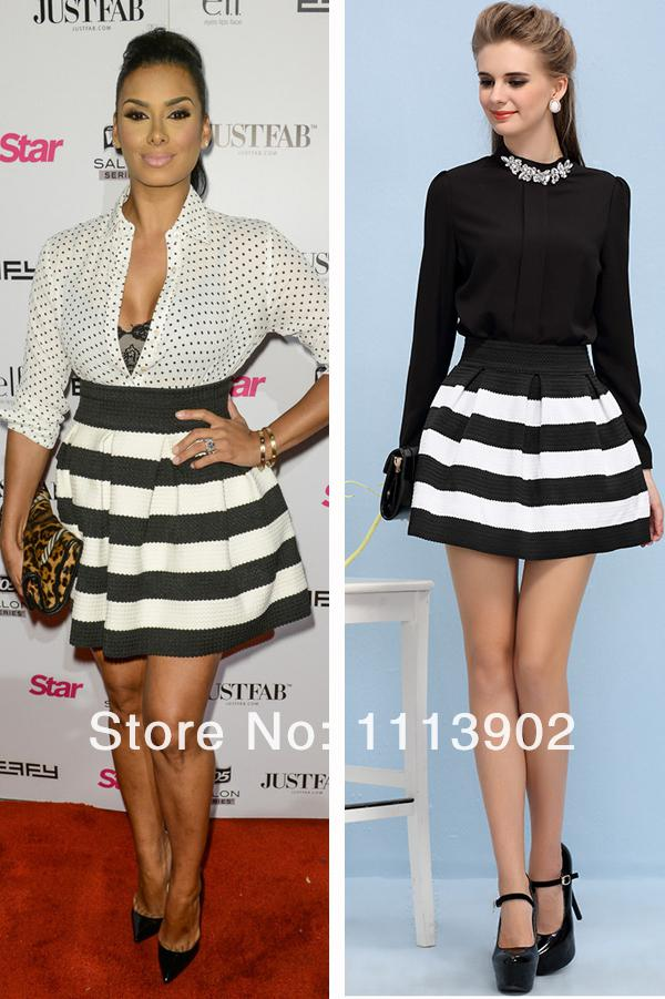 2017 Hot Seller Fashion Celebrity Style Black White Stripe Skirt ...