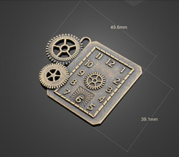 Wholesale Jewelry Clock Pendant - 13271 vintga Gear clock charms Necklace earrings Pendants DIY alloy Charms Jewelry Findings & Components
