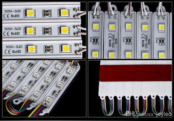 1000x promotion 5050 SMD RGB White cold white Red Blue Green LED module light, DC12V input, waterproof