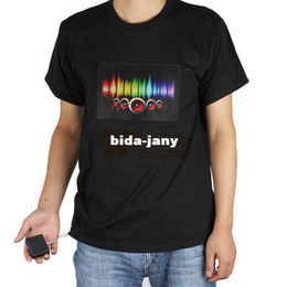 Wholesale Led Shirts For Men - Wholesale-Sound Activated Music LED T Shirt Men Short Sleeve with Detachable EL Panel for Party Dance Rock Disco DJ Lighting free shipping
