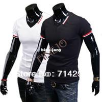 Wholesale Men Wholesale V Necks - Wholesale-New Casual Men's Slim Fit V-neck Short Sleeve T-Shirt Tops Blouse Tee Drop shipping 16532