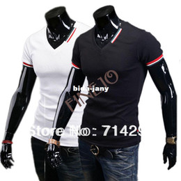 Wholesale Drop Neck T Shirts - Wholesale-New Casual Men's Slim Fit V-neck Short Sleeve T-Shirt Tops Blouse Tee Drop shipping 16532