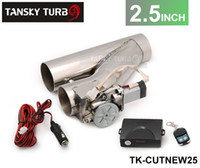 "Wholesale Exhaust Cutouts - Tansky - High-performance Universal 2.5"" EXHAUST CATBACK TURBO ELECTRIC E CUTOUT Y PIPE WITH REMOTE TK-CUTNEW25"