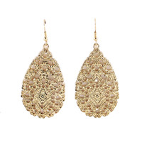 Wholesale Drop Water Style Earrings - Hot promotion fashion vintage style hollow out water drop earrings