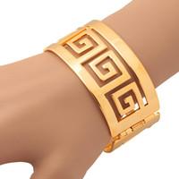 Wholesale Vintage 18k Gold Bangles - U7 Vintage G Pattern Bangle Bracelet 18K Real Gold Plated  Platinum Plated Fashion Women Bracelet Perfect Gold Bracelet Jewelry Accessories