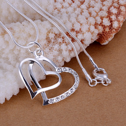 $enCountryForm.capitalKeyWord Canada - Low Price Top quality 925 sterling silver rhinestone crystal fashion classic double heart pendant necklace jewelry free shipping