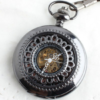 Wholesale Steel Chain Saw Wholesalers - 5pcs Elegant See Through Design Small Flower Men Roma Skeleton Chain Watch Handmade Black Titanium Analog Mechanical Pocket Watches Fob Gift