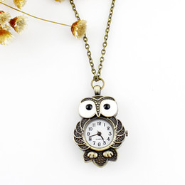 Wholesale Vintage Sale Tags - Hot sale fashion design Vintage jewelry lovely owl pocket watches pendent necklace