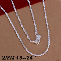Wholesale Top Wholesale Gifts China - Top Quality 925 sterling silver 2MM Twist ROPE CHAIN Necklace 16inch 18inch 20inch 22inch 24inch 50pcs Free Shipping